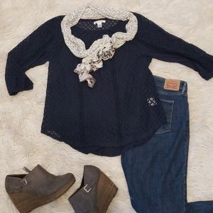 Navy blue Lacey top